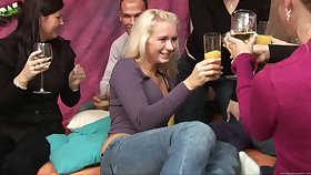 Blonde darling Aneta surprised with a gangbang with her friend