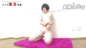 Solo bounding and toying with Asian teen