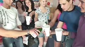 Group sex during a large party encircling a in the midst for horny boys together with girls