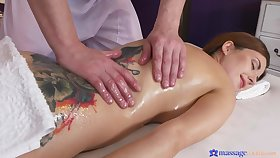 Camilla Moon oiled and massaged before fucking say no to masseur