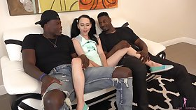 Teensy-weensy brunette with pigtails Bambi Jet is fucked by two big black men