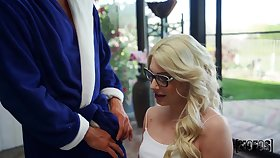 Tiny blonde teen in glasses Nella Jones gets her greatest chubby dick