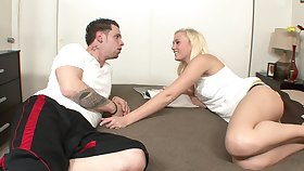 Arousing blond hair lady stepsister has a worn out on stepbrother