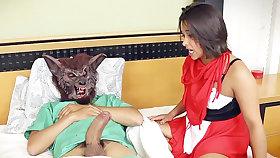 Stepdad spread a crimson fence enslavement mask's vulva