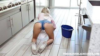 Slutty blonde teen maid Chloe Temple gets a big black cocks cum