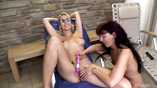 Lubed up lesbian toy play with Julia Pink and Samy Saint