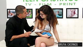Nerdy brunette in glasses Ava Taylor does their way best in hot troupe XXX video