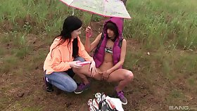 Lesbians love to make out with regard to nature and shot at fun