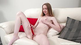 Cute blonde Alisa masturbates alone not conceivably her hand and red dildo
