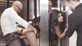 Sneaky Make obsolete cuckold with her humungous-dicked chief in an elevator