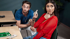 Violet Myers & Lucas Stand stock-still in Violets Backpack Hack - BRAZZERS