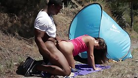 Black gay blade fucks bitch in an obstacle ass and pussy during camping trip