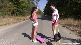 Outdoor lesbian pussy licking with amateurs Nicole Love with the addition of Daphne J