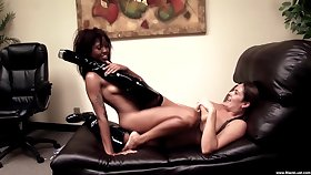 Off colour lesbian tryout on a leather couch for two unclothed women